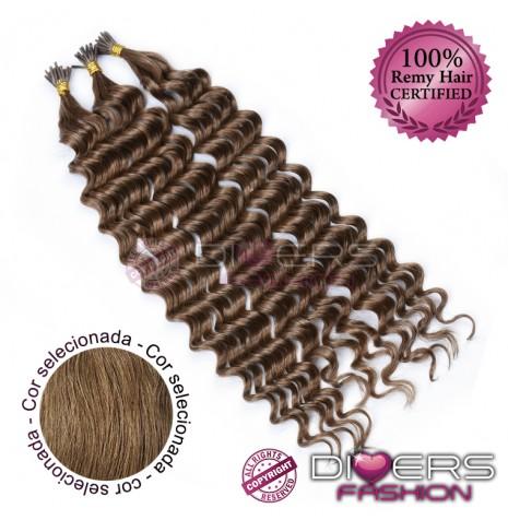 Extensões anilhas ponta em I cabelo crespo cor Nº8