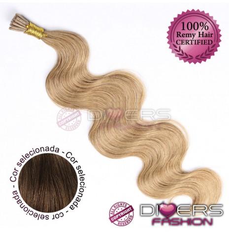 Extensões anilhas ponta em I cabelo ondulado cor Nº6