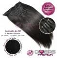 Extensões CLIPS / TICTAC cabelo liso kit 6 bandas - cor Nº1