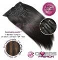 Extensões CLIPS / TICTAC cabelo liso kit 6 bandas - cor MADEIXA Nº2/8