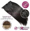 Extensões CLIPS / TICTAC cabelo liso kit 6 bandas - cor CALIFORNIANA Nº6/16