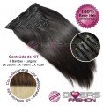 Extensões CLIPS / TICTAC cabelo liso kit 6 bandas - cor CALIFORNIANA Nº6/613