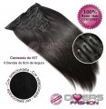 Extensões CLIPS / TICTAC cabelo liso kit 6x8 bandas - cor Nº1