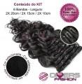 Extensões CLIPS / TICTAC cabelo ondulado kit 6 bandas - cor Nº1