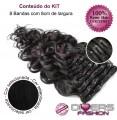 Extensões CLIPS / TICTAC cabelo ondulado kit 8 bandas - cor Nº1