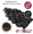 Extensões CLIPS / TICTAC cabelo ondulado kit 8 bandas - cor Nº6
