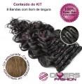 Extensões CLIPS / TICTAC cabelo ondulado kit 8 bandas - cor Nº8