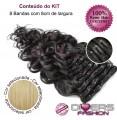Extensões CLIPS / TICTAC cabelo ondulado kit 8 bandas - cor Nº24