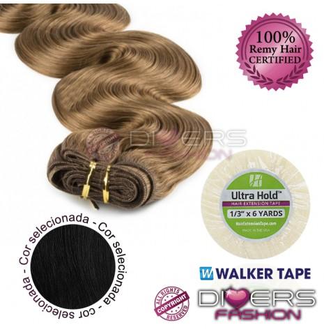 Extensões adesivas skinweft cabelo ondulado cor Nº1