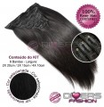 Extensões CLIPS / TICTAC cabelo liso kit 8 bandas XL - cor Nº1