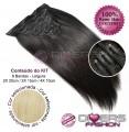 Extensões CLIPS / TICTAC cabelo liso kit 8 bandas XL - cor Nº613