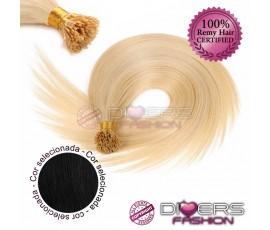Extensões anilhas ponta em I cabelo liso