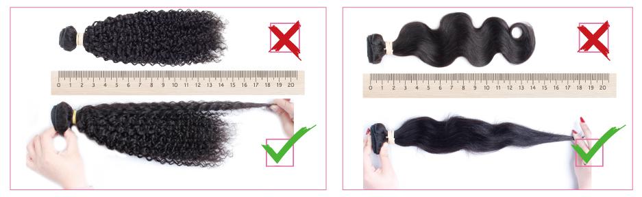 como medir as extensões de cabelo